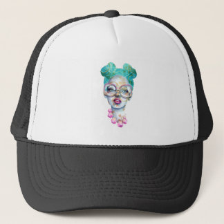 Girl with Glasses Unique Watercolour Art Pink Teal Trucker Hat