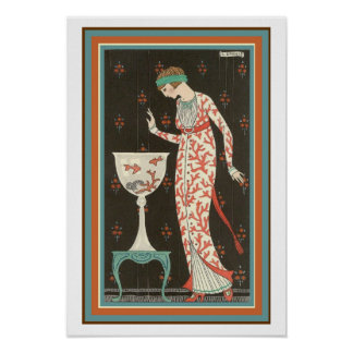 """Girl With Goldfish"" Art Deco Poster 13 x 19"