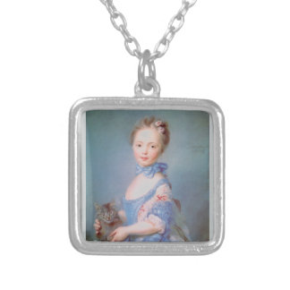 Girl with gray cat square pendant necklace
