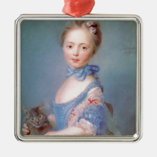 Girl with gray cat Silver-Colored square decoration