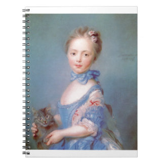 Girl with gray cat spiral notebooks