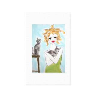 Girl with grey cats canvas print