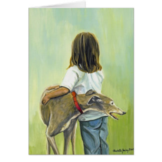 """Girl with Greyhound"" Dog Art Greeting Card"