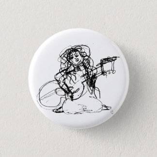 Girl with Guitar 3 Cm Round Badge