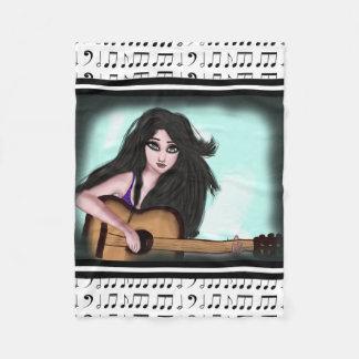 Girl with Guitar Fleece Blanket