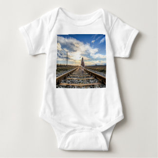 Girl With Guitar on Railroad Tracks Baby Bodysuit