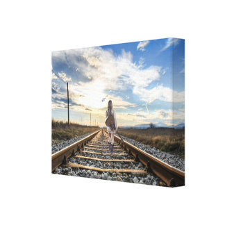 Girl With Guitar on Railroad Tracks Canvas Print