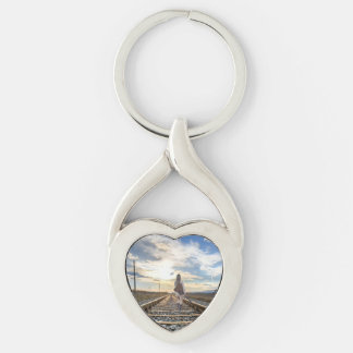 Girl With Guitar on Railroad Tracks Key Ring
