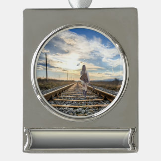 Girl With Guitar on Railroad Tracks Silver Plated Banner Ornament
