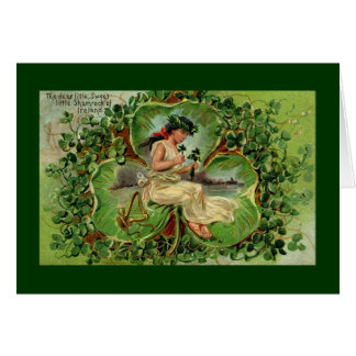 Girl with harp and shamrocks card