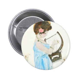 Girl with Harp Button