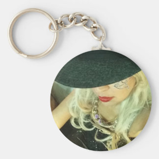 Girl with hat basic round button key ring