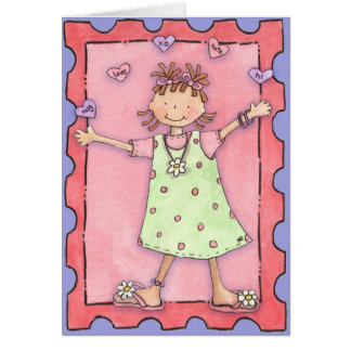 Girl with Hearts - Greeting Card