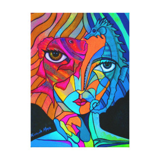 Girl with Hippocampus Canvas Print