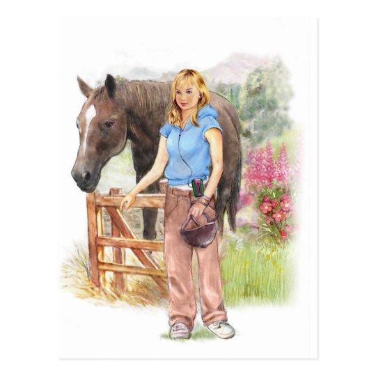 Girl with horse for communion postcard