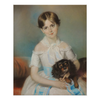 Girl With King Charles Spaniel Reproduction Print