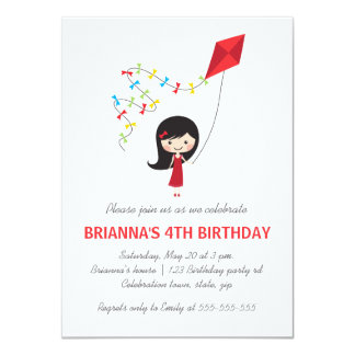 Girl with kite girls birthday party card