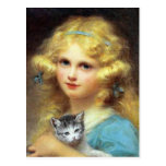 Girl with Kitten: Vintage Painting by E. Cabane