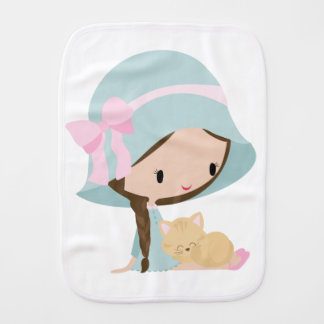 Girl with Kitty Burp Cloth for a baby girl