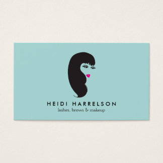 Girl with Lashes on Aqua Beauty Business Card