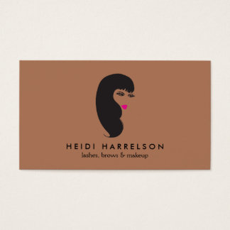 Girl with Lashes on Dark Tan Beauty Business Card