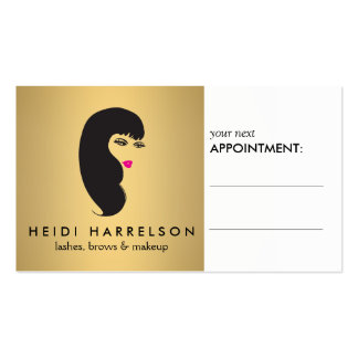 Girl with Lashes on Faux Gold Appointment Card Business Cards