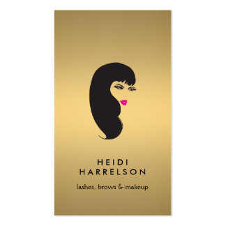 Girl with Lashes on Faux Gold Beauty II Business Card Templates