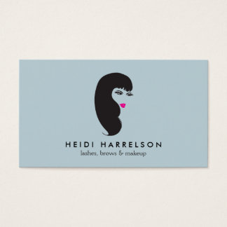 Girl with Lashes on Lt Blue Beauty Business Card