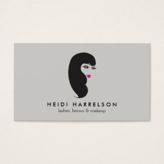 Girl with Lashes on Lt Gray Beauty Business Card