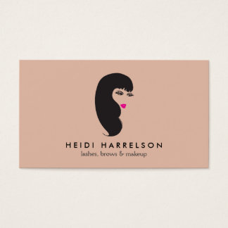 Girl with Lashes on Peach Beauty Business Card