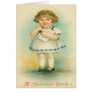 Girl With Letter To Santa Card