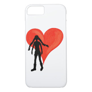 Girl with long braids and big heart iPhone 8/7 case