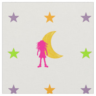 Girl with long curly hair and moon and stars fabric