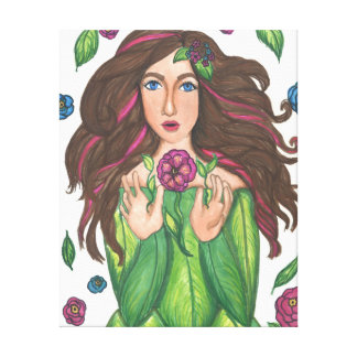 """Girl with Magical Flowers Wrap Canvas (24"""" x 30"""") Canvas Print"""