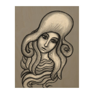 Girl with Octopus Hat Charcoal Wood Print