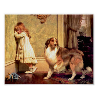 "Girl with Pet Sheltie: ""A Special Pleader"" Poster"