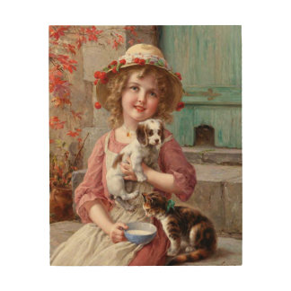 Girl With Pets Wood Wall Art