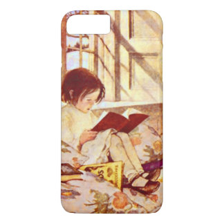 Girl with Picture Books Vintage Illustration iPhone 7 Plus Case