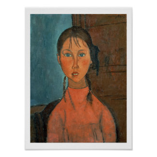 Girl with Pigtails, c.1918 (oil on canvas) Poster