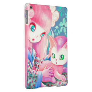 Girl With Pink Hair in Kimono With Kawaii Cat iPad Air Cases