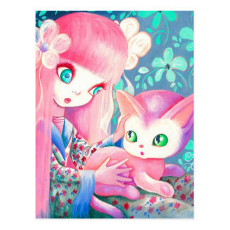 Girl With Pink Hair in Kimono With Kawaii Cat Postcard