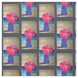 Girl With Pink Umbrella - Beach Theme Fabric