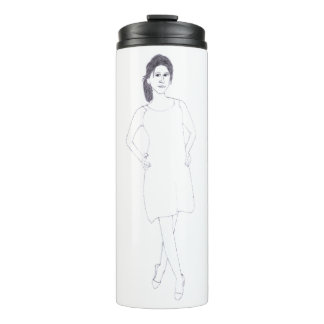 Girl with Plain Dress thermal tumbler