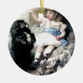 Girl with Poodle Dog Pet painting Ceramic Ornament