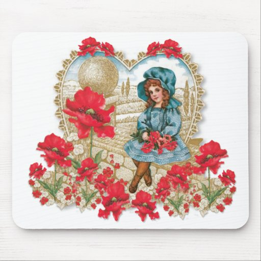 Girl with Poppies Mousepad