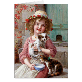 Girl With Puppy and Kitten Greeting Card