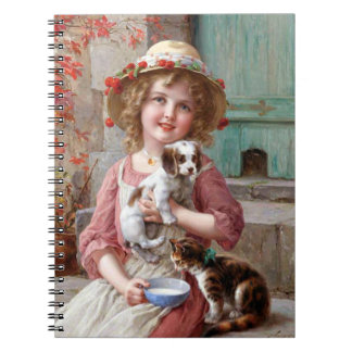 Girl With Puppy and Kitten Notebook