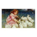 Girl with rabbits pack of standard business cards