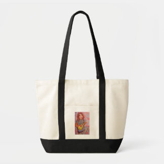 girl with red hair and ukulele impulse tote bag