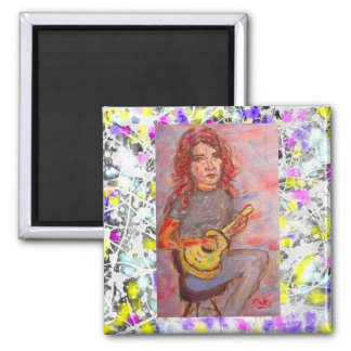 girl with red hair and ukulele magnet